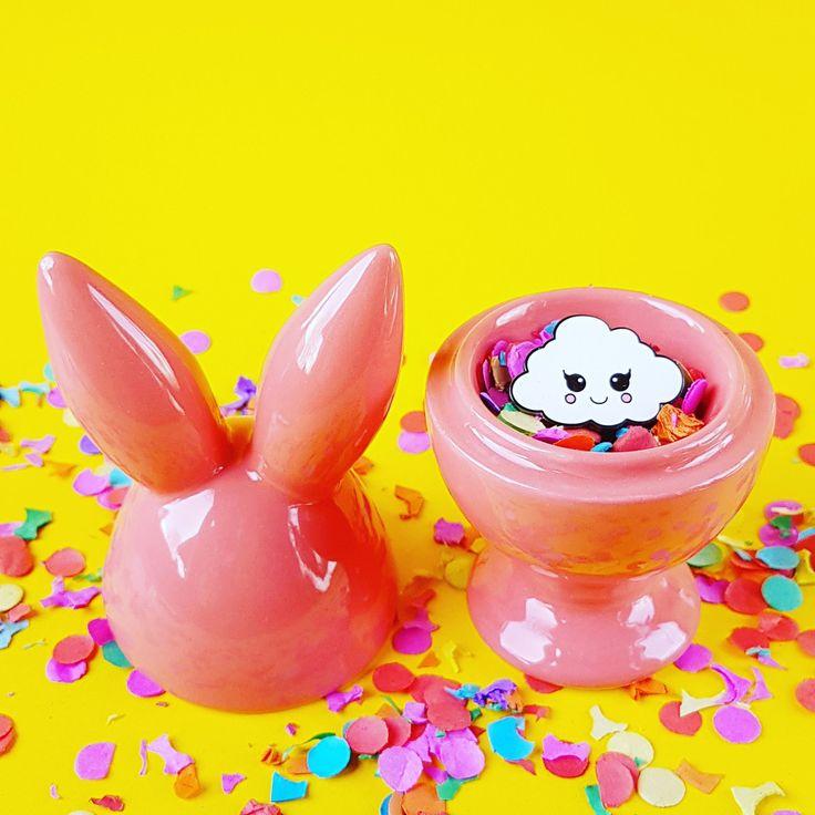 Cute kawaii cloud pin in Easter egg holder