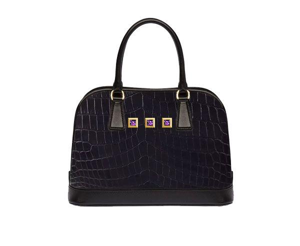 Exotic Designer Handbags. Ade Black Black Crocodile Skin,Purple Amethyst Handcrafted into 18K Gold Bespoke Options #vittore #vittorehandbags #ultraluxury