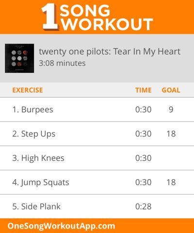 One Song Workout.  This is an awesome way to get in some quick cardio!  #exercise. #workout