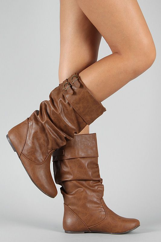 Fashion Slouch Womens Low Heels Casual Faux Suede Cuffed Pleated Mid Calf Boots