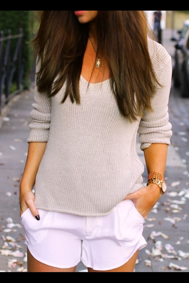 Knitted jumper/ cardigan/ white shorts
