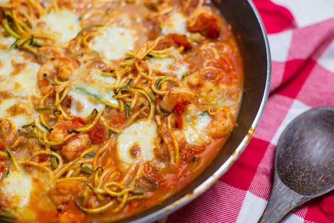 Courghetti met garnalen uit de oven