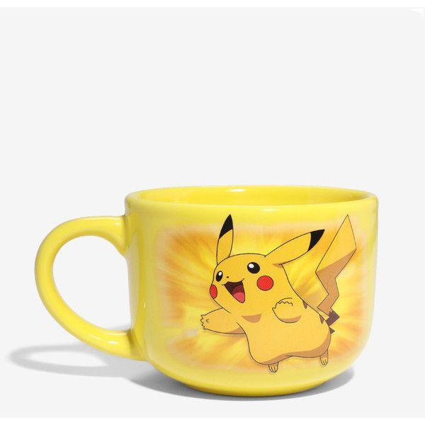 Pokemon Pikachu Latte Mug ($12) ❤ liked on Polyvore featuring home, kitchen & dining, drinkware, pokemon mug, footed mug, yellow mugs and latte mugs