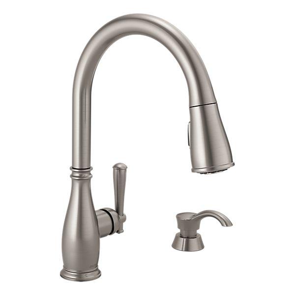 Delta Zalia Spotshield Stainless  Handle Pull Down Kitchen Faucet
