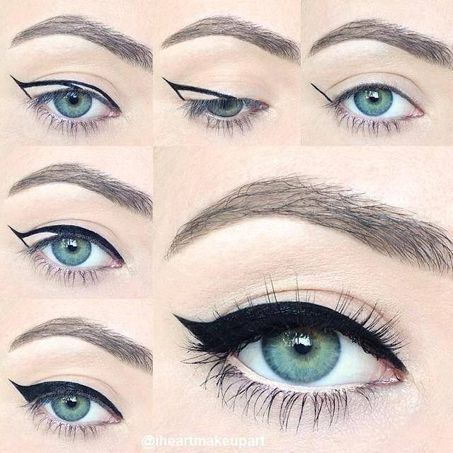 WINGED EYELINER 101 I made this pictorial to show you a super easy way to create a cat eye wing.✨ This has been requested a lot so I hope you like it! Details:  I used @TarteCosmetics lights, camera, lashes precision longwear liquid liner. I love this
