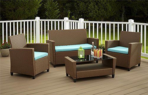 Wicker Patio Furniture Outdoor Dining 4-Piece Set, Brown and Teal Cushions