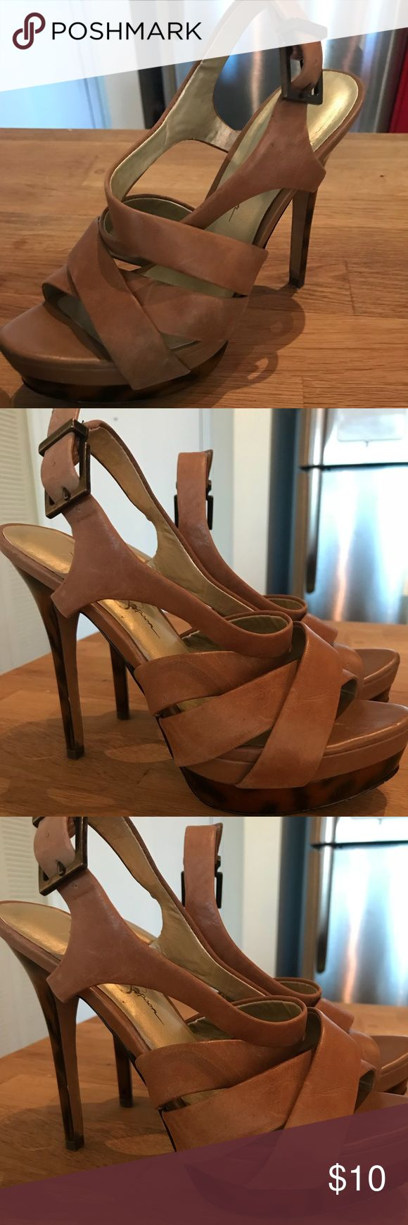 Size 6.5 Camel Jessica Simpson strappy heels Camel strappy heels with a faux tortoise shell platform. Heel is 4 inches high. Love these heels so they're a little worn in! Just means no blisters for you! Jessica Simpson Shoes Heels