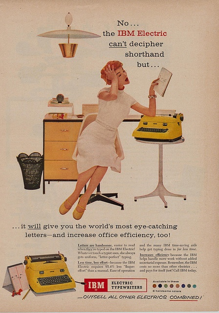 It can't decipher shorthand, but it will give you the world's most eye-catching letters! 1950s secretary ads