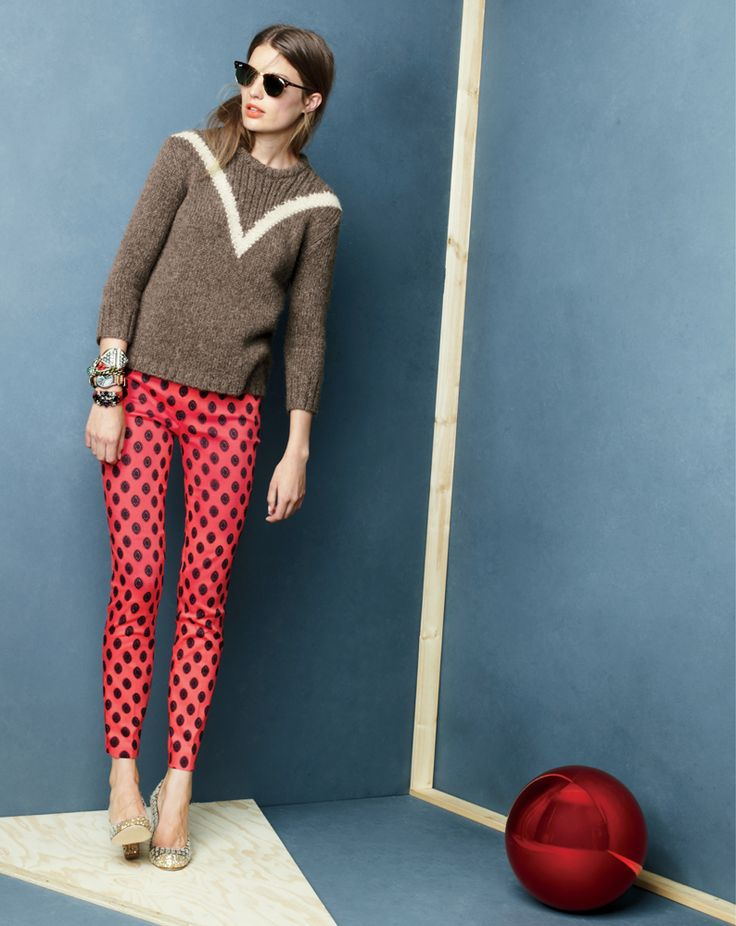 "J.Crew Ribbed ""V"" sweater, Minnie pant in Medallion print."