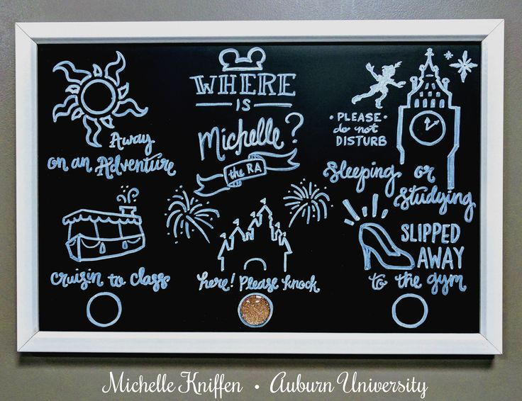 Where is Your RA // Disney themed magnetic chalkboard // Auburn University South Donahue Residence Hall 2017 // Residence Life // bulletin board ideas
