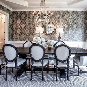 Black Salvaged Wood Trestle Dining Table