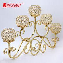 VINCIGANT metal lanterna suporte de vela 5-braços candelabro de cristal peças centrais do casamento decoração de casa candelabros Artísticos(China (Mainland))