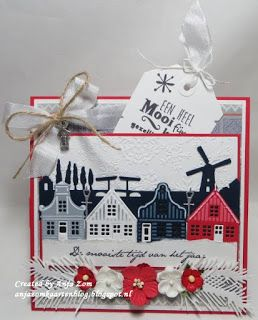 Card made by DT member Anja with among others Creatables Holland Horizon (LR0381), Zaanse Schans (LR0382) and Design Folder Ice Crystals (DF3420) by Marianne Design
