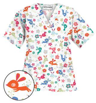 UA Springtime Hop White Scrub Top Style # PC62SGH  #uniformadvantage #uascrubs #adayinscrubs #scrubs #printscrubs #scrubtop