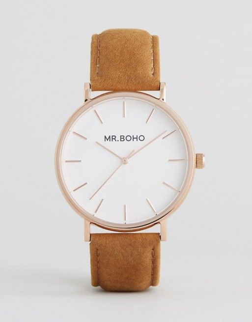 Mr Boho Watch With Tan Suede Strap