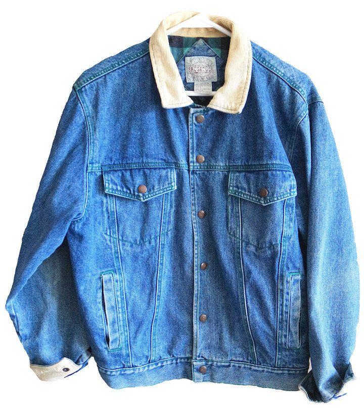 Vintage Men's Women's Saugatuck Dry Goods Jean denim jacket corduroy collar lined with green & black plaid coat %100 Cotton size large by VELVETMETALVINTAGE on Etsy