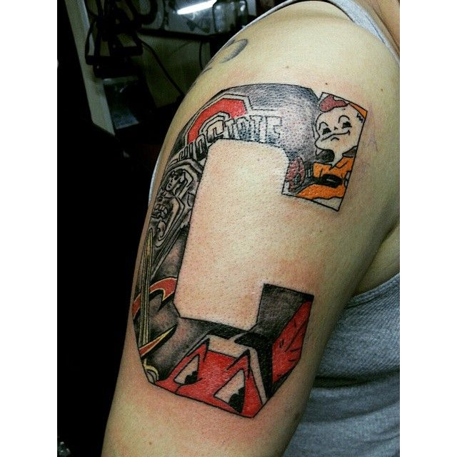This large block C tattoo is perfect for the diehard Ohio sports fan. The colored tat features every major Cleveland sports team, a shout-out to the reigning national champions and a depiction of one of the Guardians of Traffic (Photo courtesy of Instagram user @inked_familia).