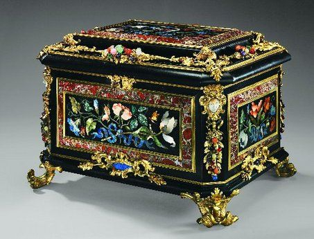 "An 18th-century jewelry box casket designed by Giovanni Battista Foggini of the Galleria dei Lavori in Florence is part of the ""Art of the Royal Court"" exhibit at the Metropolitan Museum of Art."