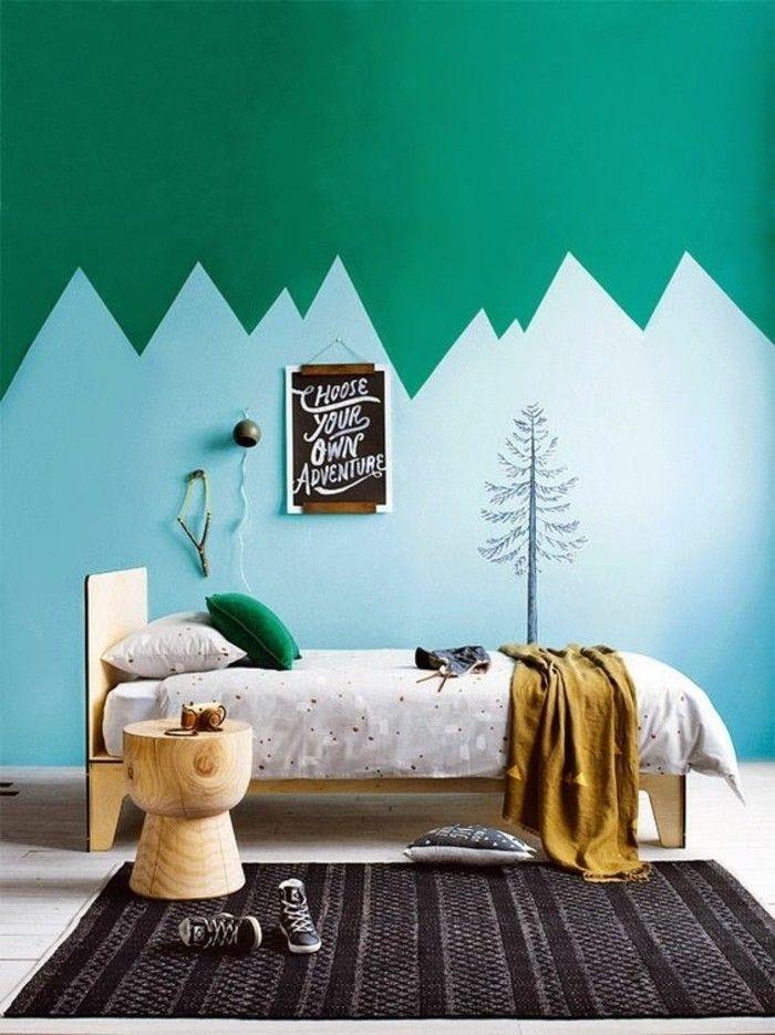 lit bebe et mur double coloré bleu vert, peinture glycéro leroy merlin