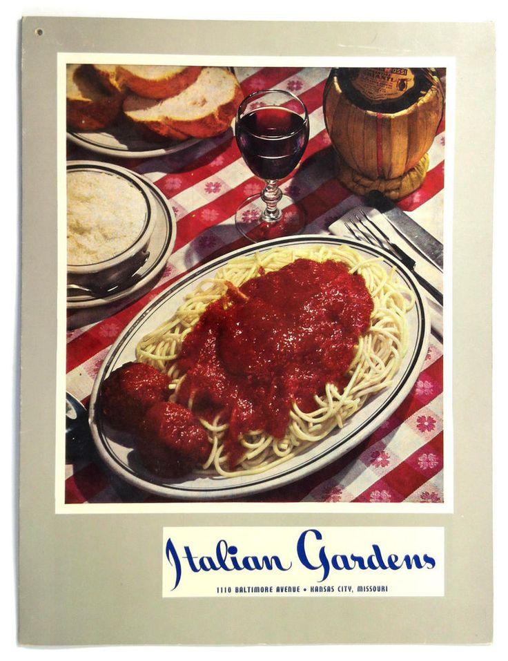 1960's Original Vintage Menu ITALIAN GARDENS Restaurant