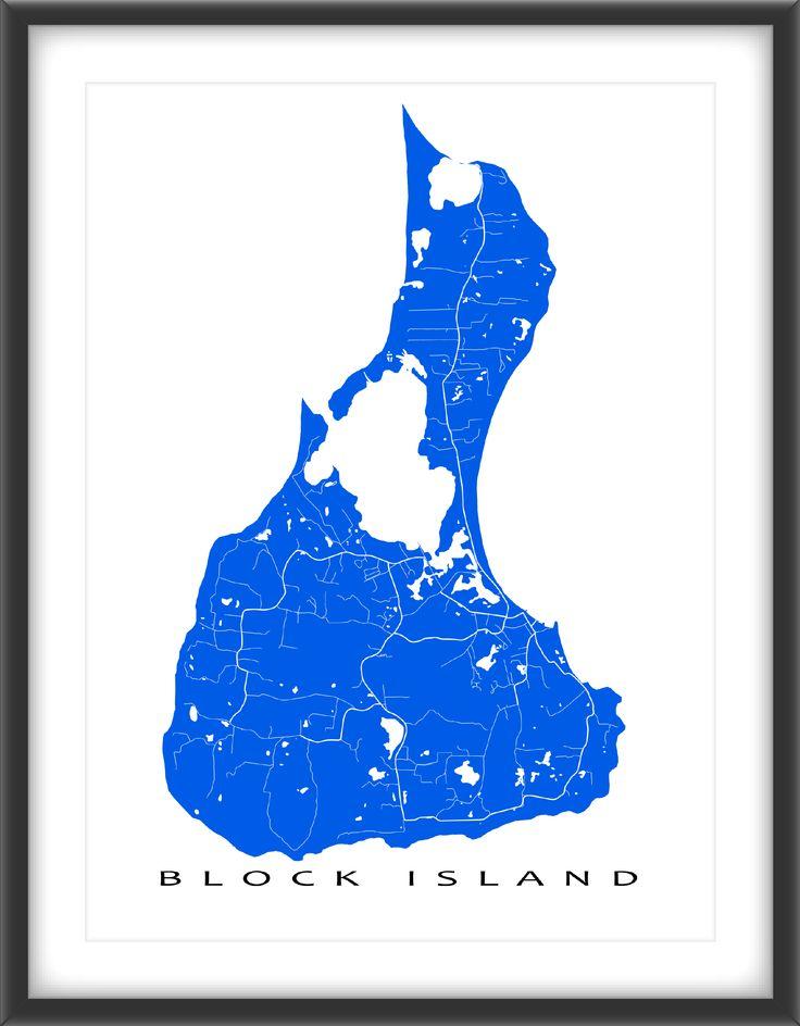 Block Island #map print with a white street design including the fabulous Block Island in Rhode Island, USA.  This Block Island art print also includes the town of New Shoreham, RI. #RhodeIsland #BlockIsland #NewShoreham