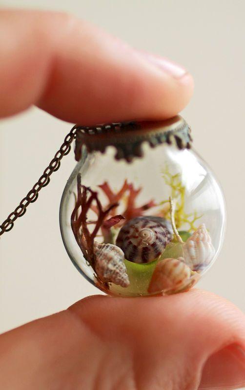 Miniature sea terrarium necklace - glass globe pendant - real seashell and sea glass necklace