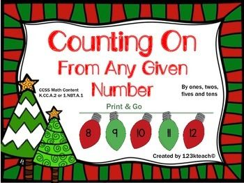 Count on Christmas Style~Students will learn to count on from any given number. The worksheets start out simple and get progressively more challenging as you introduce larger numbers and students learn to count on by 1's, 2's, 5's, and 10's. This activity aligns with Common Core Math Content K.CC.A.2 or 1.NBT.A.1. This is a set of sixteen worksheets in all. Just PRINT & GO!