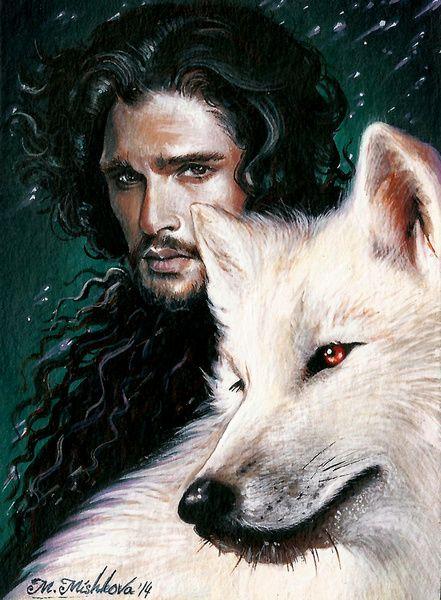Game of Thrones Jon Snow Ghost Direwolf Wolf Kit Harington Art Print