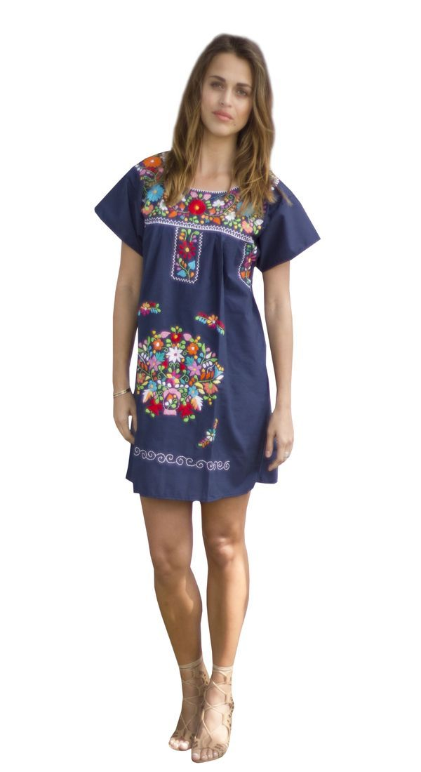 Navy blue embroidered Mexican mini dress