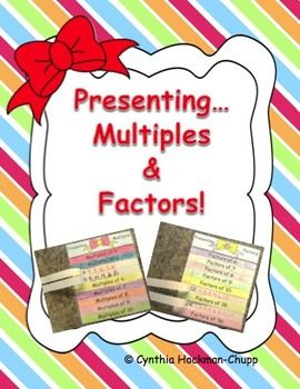 """Color,+cut,+and+glue+these+little+""""present""""+flap+books+to+review+multiples+and+factors.+Students+write+the+definition+of+""""factor""""+and+""""multiple""""+and+list+5+multiples+for+numbers+2-10+and+all+the+factors+for+6,7,8,9,10,12,18,24,36.+Blank+versions+are+also+included+for+teachers+or+students+who+want+to+use+their+own+numbers."""