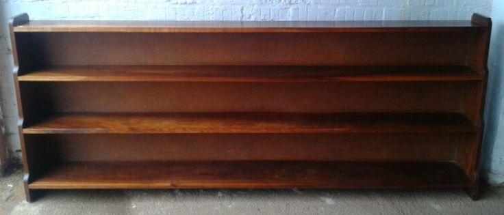 SOLD! #NorthcliffAntiques Bookshelf. Wood: Kiaat. Finish: Varnish. Details: consists of 3 shelves. Dimensions: 216 cm width, 88 cm height  and 17,5 cm depth.  #Bookshelf #Library #Furniture #Wood