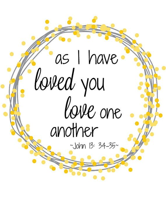 As I have loved you love one another John 13:34-35