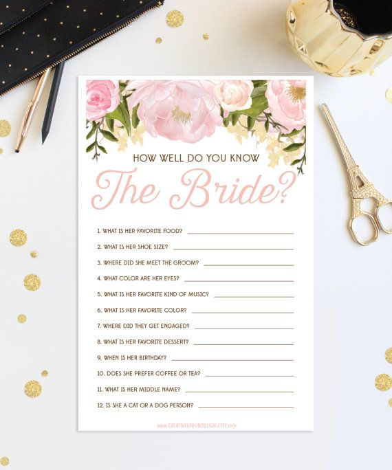 how well do you know the bride bridal shower game wedding shower pink floral print at home us a4 sizes instant download