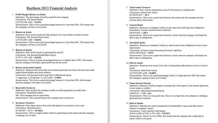 Raytheon 2013 Financial Analysis