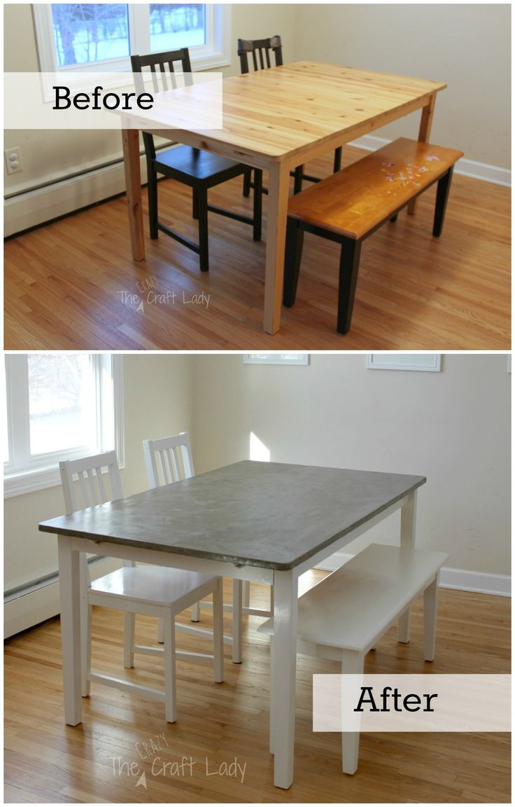DIY Concrete Dining Table Top And Set Makeover