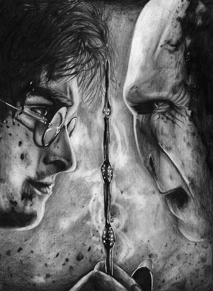 Black and white pencil drawing of Harry Potter and Lord Voldemort by Katarzyna…