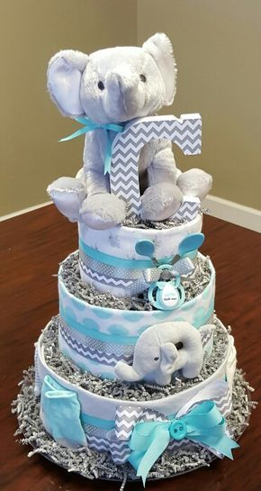 Elephant diaper cake, baby boy, baby shower gift! Check out my Facebook page Simply Showers. http://m.me/adorablegifts