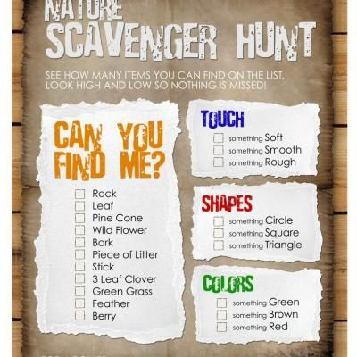 Nature scavenger hunt for the kids! Great outdoor activity. Fun for school