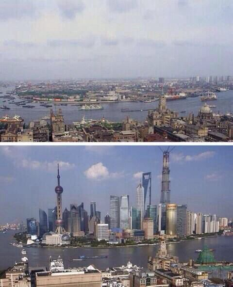 Shanghai in 1987 and in 2013.