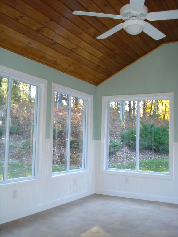 Molding Around Tongue And Groove Ceiling Sunroom