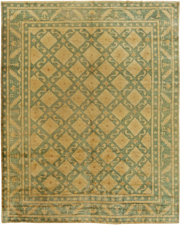 This Circa 1920 Vintage Chinese Deco Rug Features An All Over Latticed Field In