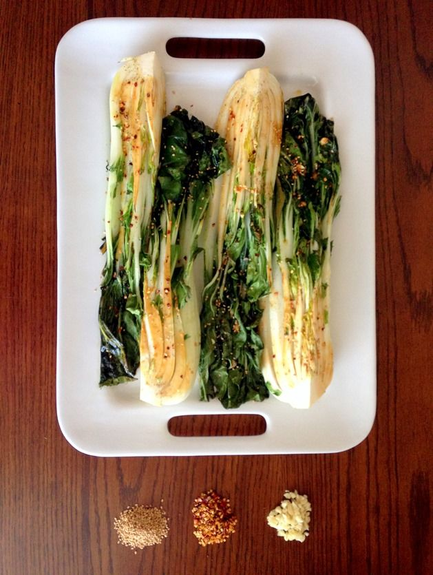 Spicy Roasted Bok Choy by thewheatlesskitchen #Bok_Choy Healthy
