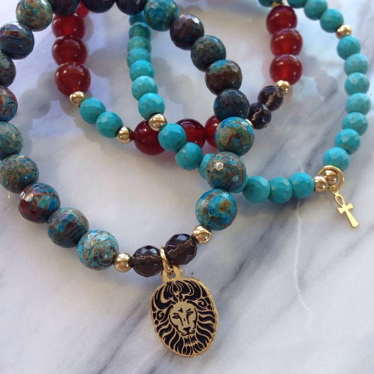 """Beautiful Carnelian, Howlite and Smokey Quartz """"Cleopatra Change Maker"""" Lionheart Bracelet Stack by #MikaMalaPride. Inspired by Goddess Cleopatra, revered as having negotiated peace between nations. #PeaceIsPossible. Feel strength and integrity as you are protected in a pure state of bold manifestation of truth and respect."""