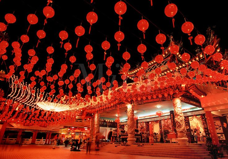 Thean Hou temple with Chinese New Year lights Kuala Lumpur