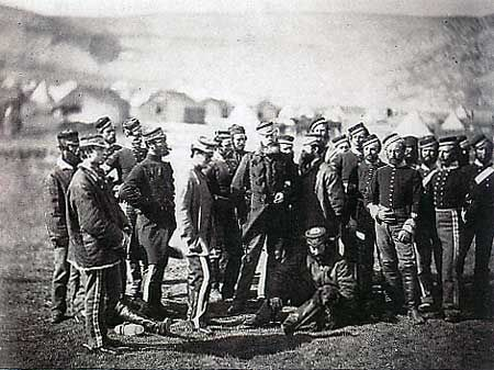 The survivors from the Charge of the Light Brigade :   13th Light Dragoons photographed n 1855 by Roger Fenton