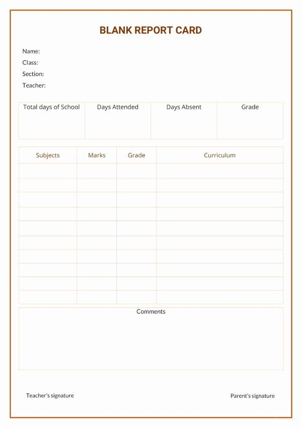 Report Card Template Word Best Of 17 Report Card Template 6 Free Word Excel Pdf In 2020 Report Card Template Free Printable Card Templates Greeting Card Template