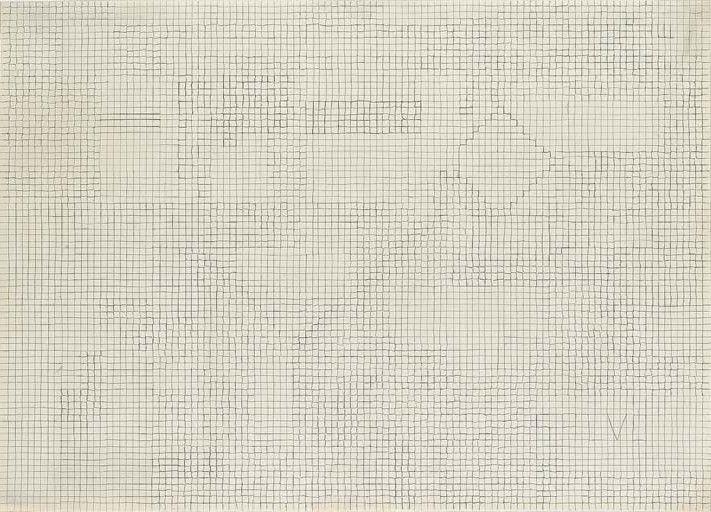Lot Description: Alighiero Boetti (1940-1994), Cimento dell'armonia e dell'invenzione  firmato e datato Alighiero Boetti 69 (sul retro)  matita su carta quadrettata, cm 47,5x66,  Eseguito nel 1969, L'autenticità dell'opera è stata confermata verbalmente dall'Archivio Alighiero Boetti, Roma - (Test of Harmony and Invention) - Price Realized: €24,800 ($31,898)