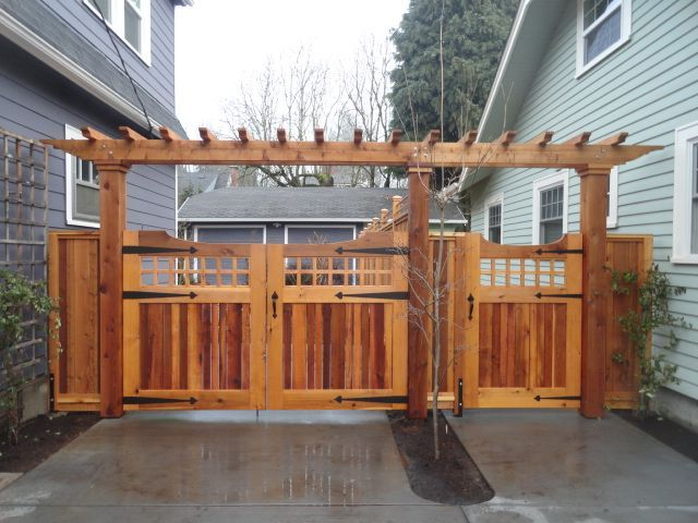 Wood Driveway And Pedestrian Gate With Arbor Fence Ideas