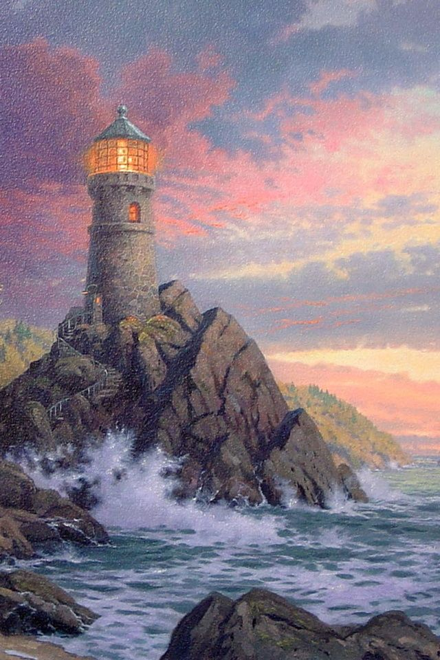 Lighthouse Pictures Thomas Kinkade | lighthouse, thomas kinkade, rock, ocean, house, painting, kinkade ...