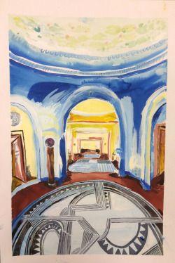 Karoliina Hellberg: Sininen aula, 2015, ink and watercolour on paper, 46x65 cm